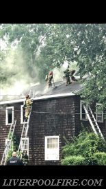 Liverpool Engine 5 crew working on the roof.